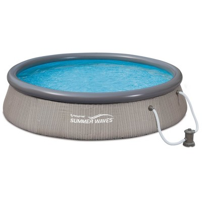 Summer Waves P10012362 Quick Set 12ft x 36in Outdoor Round Ring Inflatable Above Ground Swimming Pool with Filter Pump & Filter Cartridge, Light Gray