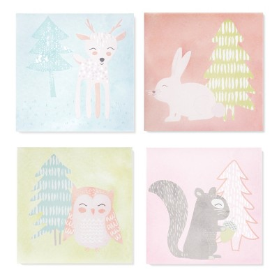 Wall Canvas Forest Frolic 4pk (10 x10 )- Cloud Island™ - Pink