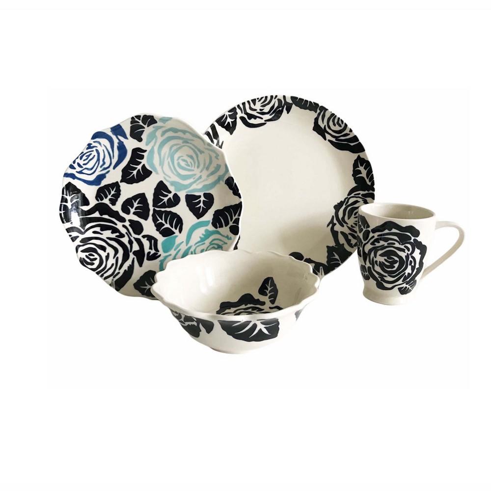 Image of 16pc Stoneware Gardenia Dinnerware Set Baum Bros., White Blue Black