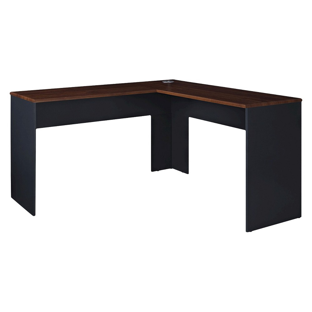 Eastcrest Contemporary L-Shaped Desk - Cherry (Red)/Slate Gray - Room & Joy