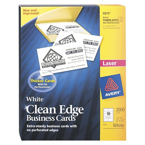 Avery® Two-Side Printable Clean Edge Business Cards, Laser, 2 x 3-1/2, White, 2000/Box - image 1 of 1