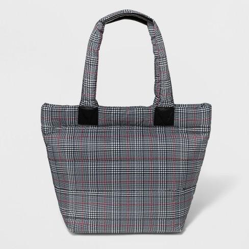 Plaid Nylon Tote Handbag - A New Day™ Black/White - image 1 of 5
