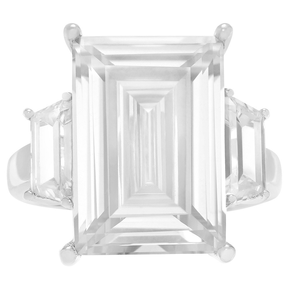 1 1/3 CT. T.W. Emerald-cut CZ Basket Set Three-stone Engagement Ring in Sterling Silver - Silver, 6, Girl's
