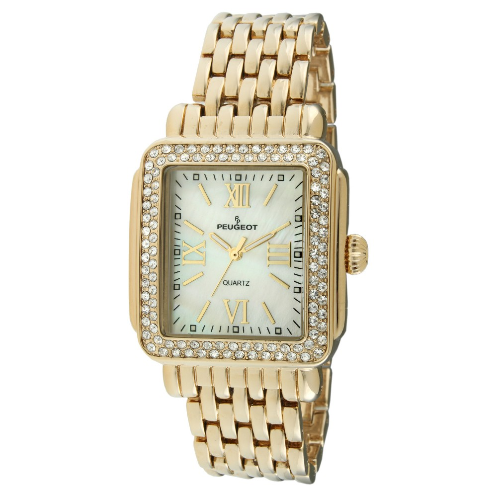 Peugeot Women's Gold tone crystal bezel watch The perfect complement for any outfit, this gold watch features a beautiful metal band. This casual timepiece features an analog time display. Gender: Female. Age Group: Adult. Pattern: Solid.
