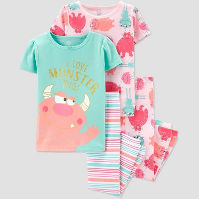 Baby Girls' 4pc Monster Pajama Set - Just One You® made by carter's Pink/Aqua 12M