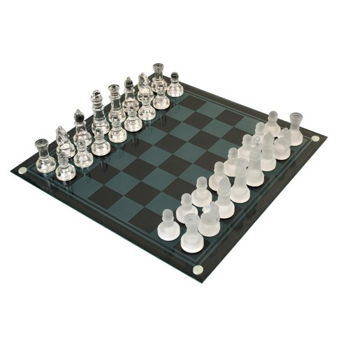 Classic Game Collection Etched Glass Chess Board Game Set - image 1 of 1