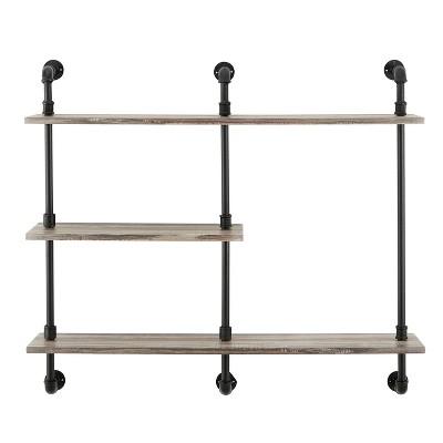3-Tier Aurora Pipe Wall Shelf Unit Black/Rustic - Danya B.