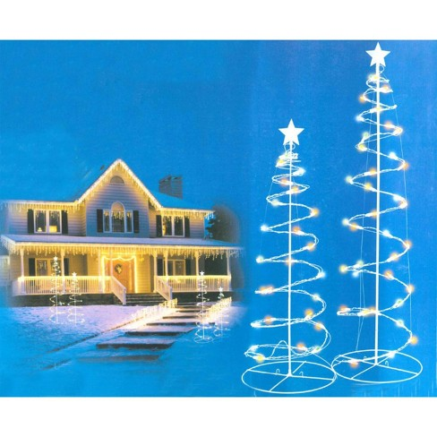 Northlight Set of 2 Multi-Color LED Lighted Spiral Christmas Trees Outdoor  Decorations 3', 4' - Northlight Set Of 2 Multi-Color LED Lighted Spiral Christmas Trees