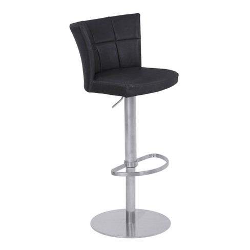 Encore Adjustable Metal Barstool in Vintage Black Faux Leather with Brushed Stainless Steel Finish - Armen Living - image 1 of 7