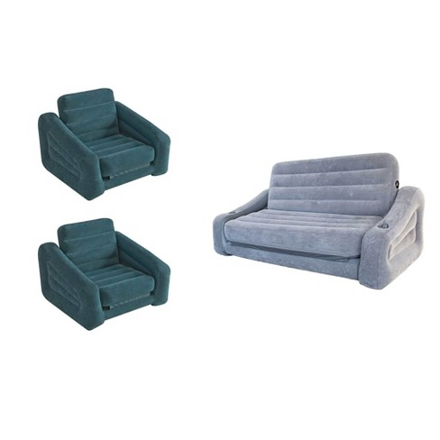 Intex Inflatable Pull-Out Sofa Queen Air Mattress & Chair Bed Sleeper (2 Pack) - image 1 of 4
