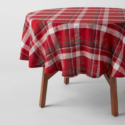 "70"" Cotton Multi-Plaid Round Tablecover - Threshold™"