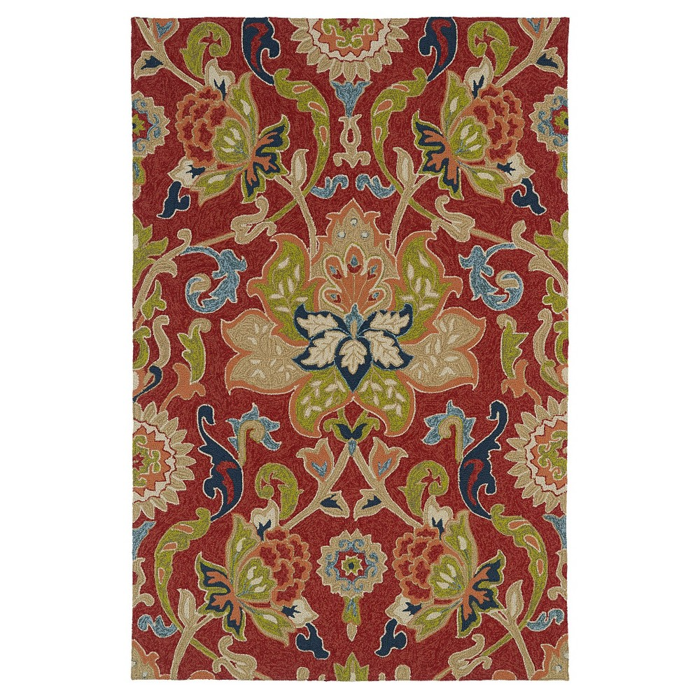 Image of 7'x9' Kaleen Rugs Home and Porch Flower Indoor/Outdoor Area Rug Red