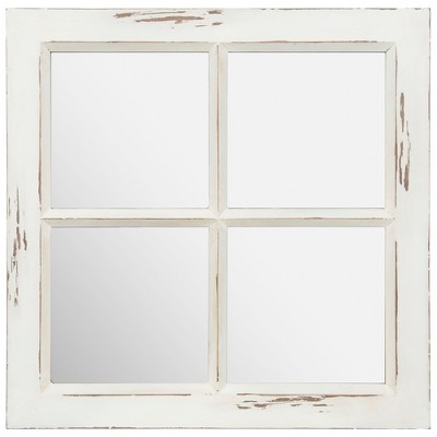 23  Distressed Rustic Framed Window Pane Wall Accent Mirror White - Gallery Solutions