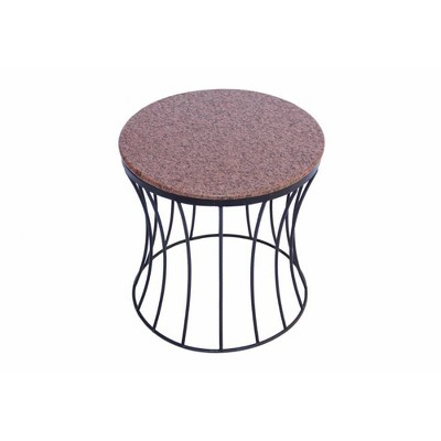 Drum Shaped Round Marble Top End Table Walnut - The Urban Port
