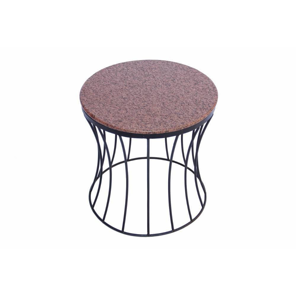 Image of Drum Shaped Round Marble Top End Table Walnut - The Urban Port