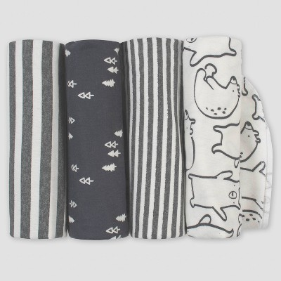 Gerber Baby Boys' 4pk Bear Flannel Blanket Set - Gray