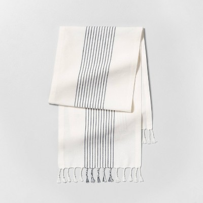 Knotted Fringe Stripe Table Runner Sour Cream/Blue - Hearth & Hand™ with Magnolia