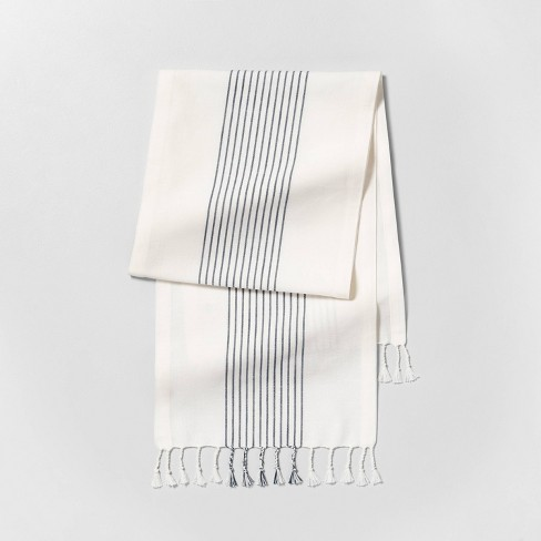 Knotted Fringe Stripe Table Runner Sour Cream/Blue - Hearth & Hand™ with Magnolia - image 1 of 2