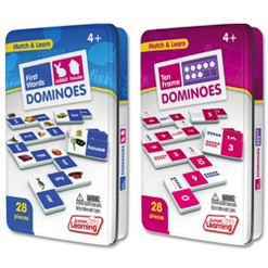 Junior Learning Ten Frame and First Words Dominoes Game Set - 56 Dominoes
