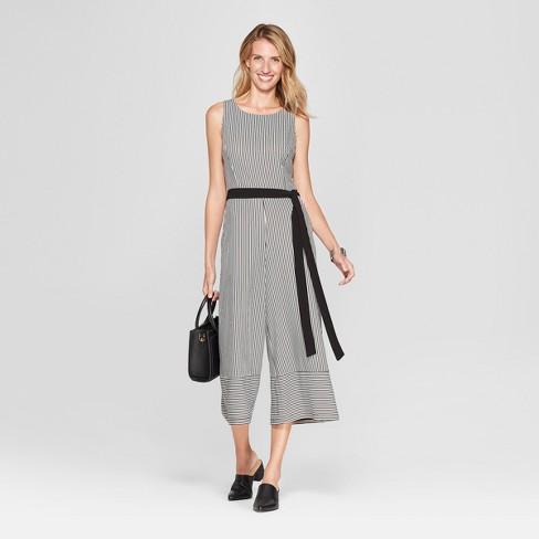 e265e7d842d Women s Striped Print Wideleg Jumpsuit with Back Cutout - Melonie T -  White Black