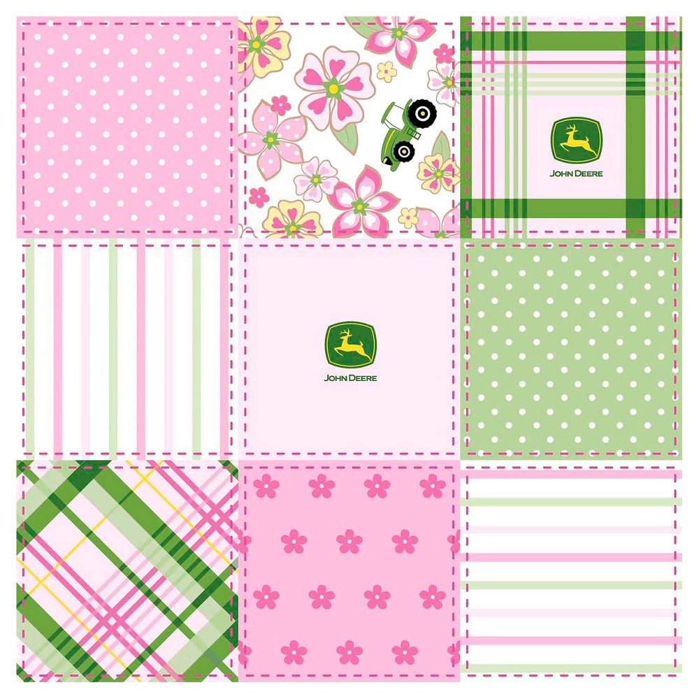 John Deere Floral Madras Patch Fabric, Pink