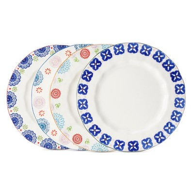 Floral Ceramic Assorted Dinner Plate Set 4pk - Multicolored