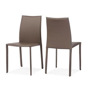 Set of 2 Rockford Modern & Contemporary Taupe Bonded Leather Upholstered Dining Chairs - Baxton Studio