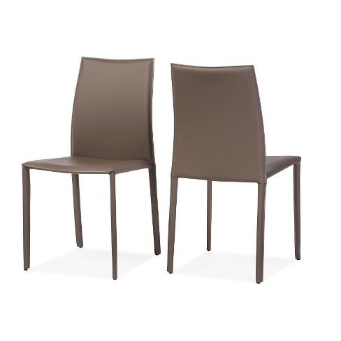 Admirable Rockford Modern Contemporary Taupe Bonded Leather Upholstered Dining Chairs Set Of 2 Baxton Studio Bralicious Painted Fabric Chair Ideas Braliciousco