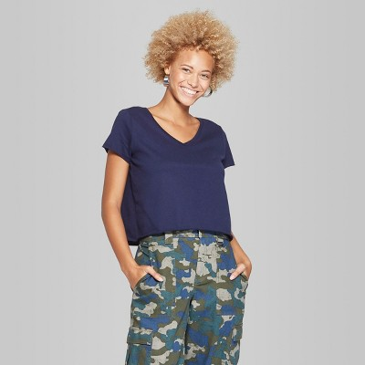 82b66c2459b9f Women s Short Sleeve V-Neck T-Shirt Boxy - Wild Fable™ Oxford Blue