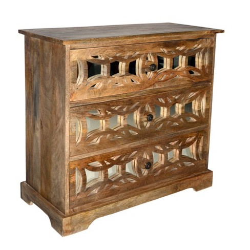 3 Drawer Mango Wood Console Storage Cabinet With Lattice Design Mirror Front Brown The Urban Port Target