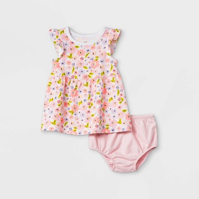 Baby Girls' Floral Ruffle Sleeve Dress with Panty - Cat & Jack™ Light Pink