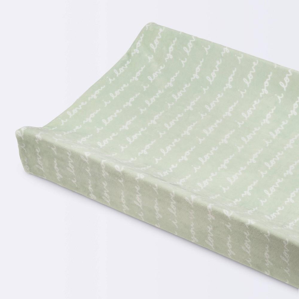 Plush Changing Pad Cover I Love You Script Cloud Island 8482 Mint