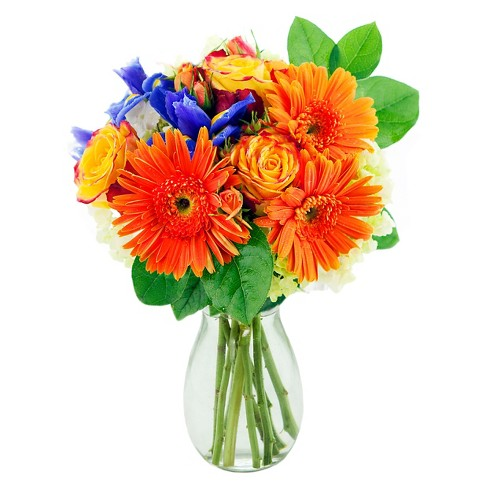 KaBloom Sunburst Gerbera Mix Fresh Flower Arrangement  - with Vase - image 1 of 1