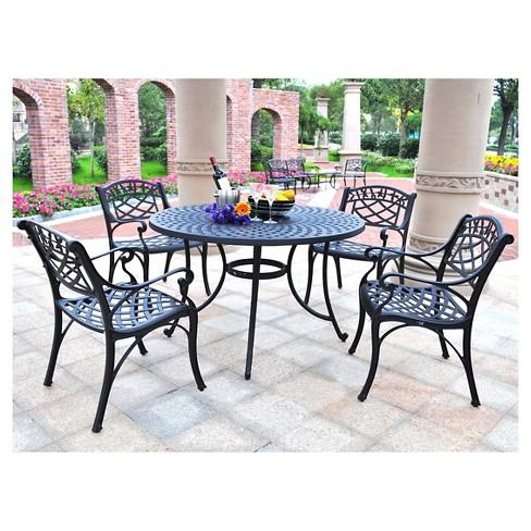 Crosley Sedona 46 Five Piece Cast Aluminum Outdoor Dining Set Black