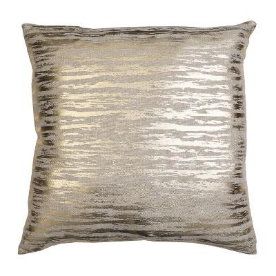 """22""""x22"""" Oversize Jessa Streak Metallic Print Square Throw Pillow Gold - Decor Therapy"""