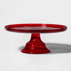 """11.7"""" Glass Cake Stand Red - Threshold™"""