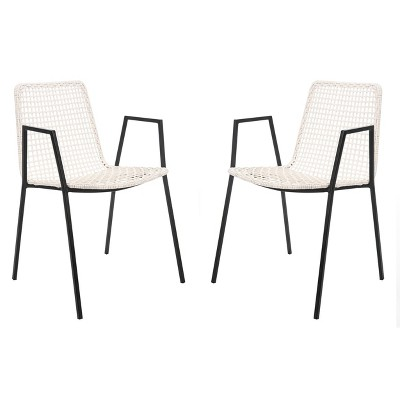 Set Of 2 Wynona Leather Woven Dining Chair White   Safavieh