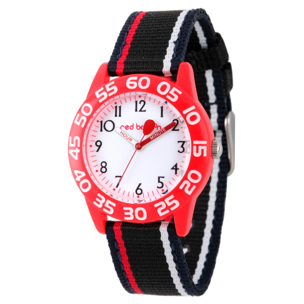 Image of Boys' Red Balloon Red Plastic Time Teacher Watch - Black, Boy's