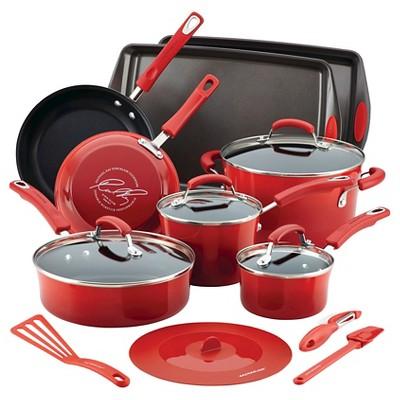 Rachael Ray(r)Hard Enamel Nonstick 16-Piece Cookware Set, Red Gradient