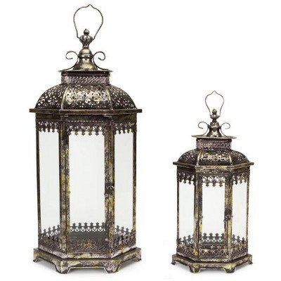 Melrose Set of 2 Antique Style Pewter Gray Decorative Glass Pillar Candle Lanterns 34""