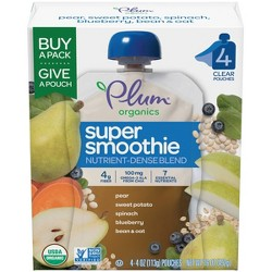 Plum Organics Super Smoothie Organic Baby Food, Pear, Sweet Potato, Spinach, Blueberry with Beans & Oats - 4oz (Pack of 4)