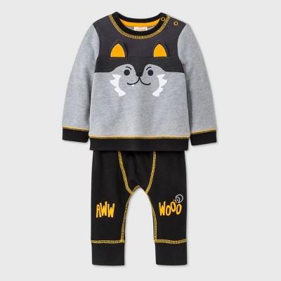 Baby Boys' Wolf Long Sleeve Top & Bottom Set - Cat & Jack™ Gray 0-3M