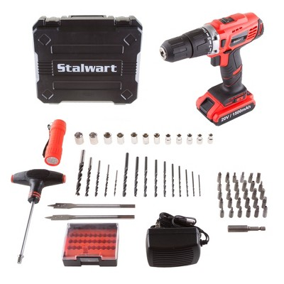 62pc 20V Lithium-Ion 2 Speed Hammer Drill and Accessory Kit Clear - Stalwart
