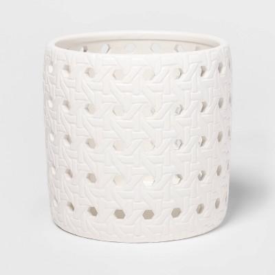 "5.2"" x 5.1"" Ceramic Bamboo Pattern Candle Holder Sleeve White - Threshold™"