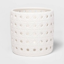 "5.2"" x 5.1"" Ceramic Bamboo Pattern Candle Holder Sleeve White - Threshold™"