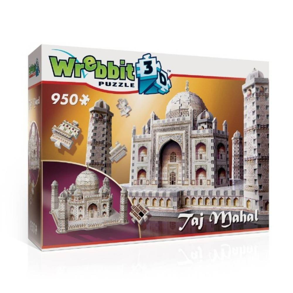 Wrebbit Taj Mahal 3D Puzzle 950pc Travel back to 17th century India and experience what the thousands of artisans and craftsmen who built this ''crown of palaces'' must have felt as they pieced together one of the Wonders of the World. Assembled Dimensions: 16.75 inches x 17 inches x 12.75 inches. Wrebbit 3D puzzles have snug and tight fitting foam back pieces that are easy to handle. They are the sturdiest 3D puzzles on the market. Highest quality of design and illustration. Made in Canada. Age - 14 and up. Warning: Choking Hazard -- Small parts. Not for children under 3 yrs. Gender: Unisex.