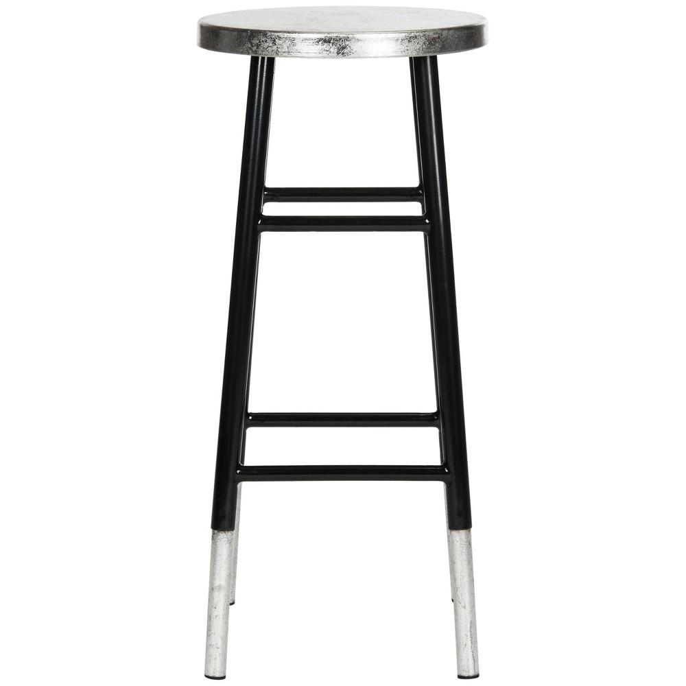Kenzie 30''H Silver Dipped Barstool - Black/Silver - Safavieh