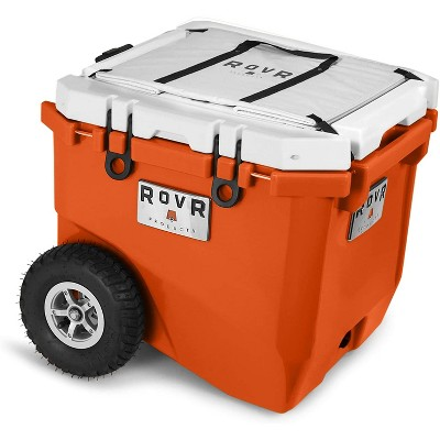 RovR RollR Portable Rolling Outdoor Insulated Cooler with Wheels for Camping, Beach, Picnics, 45 Quart, Orange