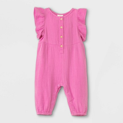 Baby Girls' Gauze Flutter Sleeve Romper - Cat & Jack™ Pink Newborn