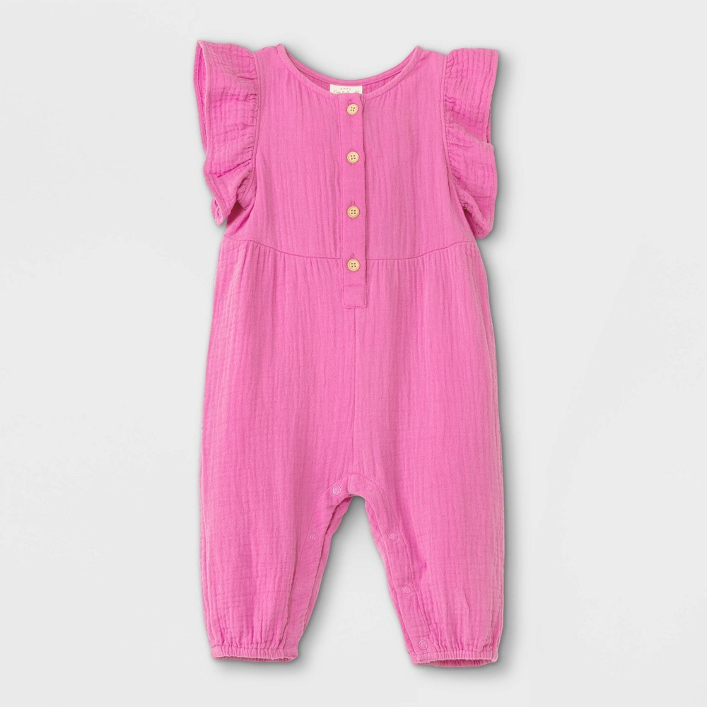 Baby Girls 39 Gauze Flutter Sleeve Romper Cat 38 Jack 8482 Pink 6 9m